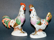 Pair Antique French Chelsea Samson Porcelain Bird Figurines 19th C 22K Gold MINT