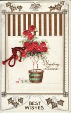 Greetings  BIRTHDAY BEST WISHES -- ROSE TREE. card opens to message postcard