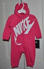 NWT $40 Nike Logo Baby Girl's Hoodie Bodysuit Romper Clothes Size 0/3 MO PINK