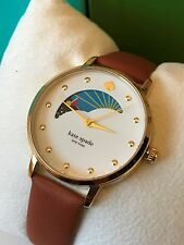 Kate Spade NY KSW1073 Moon Phase Brown Leather Strap Gold Tone Crystal Watch NWT