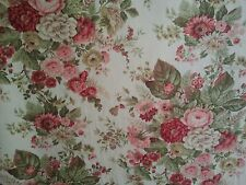 "Vintage Waverly DARLINGTON Floral Roses Fabric ~ 47"" Wide ~ 2 Yards"