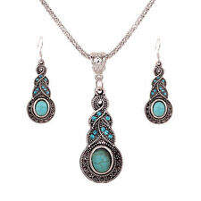 Silver Plated Tribal Necklace & Earrings Jewellery Set - Aztec Turquoise Blue