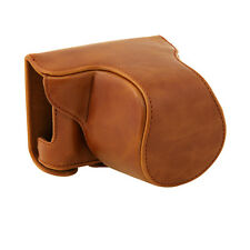 Brown Camera PU Leather Case Bag Pouch for Panasonic LUMIX DMC-GM1KS GM-1+ Strap