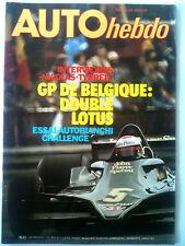 AUTO HEBDO n°115; Essai Autobianchi Challenge/ Interview Nicolas Tyrrell/ GP Bel