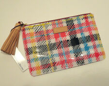 DOONEY & BOURKE Chatham Plaid Tassel Clutch Multicolor Pouch Cosmetic Bag NWT