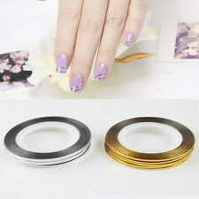 10 Rolls Fashion Gold/Silver Nail Tape Stickers Stripes Lines Art Decoration
