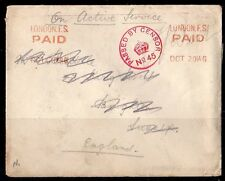 UK GB 1914 ON ACTIVE SERVICE LONDON F.S. PAID OCT 2 914G STRUCK TWICE IN ORANGE