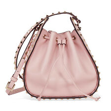 Valentino Rockstud Leather Bucket Bag - Water Rose