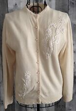 Vintage 1950s Imperial Beaded Cardigan Sweater Top Wool Angora Lined Size 40/10