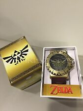The Legend of Zelda Watch Stainless Steel Hyrule Crest + Leather Strap OFFICIAL