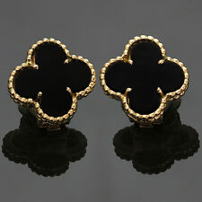 VAN CLEEF & ARPELS Vintage Alhambra Black Onyx Gold Earrings