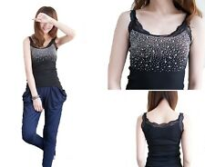 lady fashion sexy crystal diamante vest top one size fit all one size bk