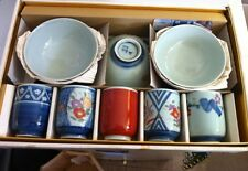 Beautiful Vintage Japanese Tea Cups with Rice Bowls in Decorative Box Set of 5