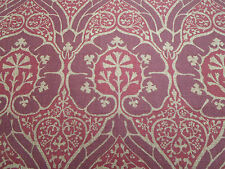 William Morris Curtain/Upholstery Fabric 'Voysey' 4.25 METRE (425cm) Red - Linen