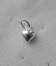 LOVELY PUFFED HEART 3D VERY SMALL CHARMS CHARM 925 STERLING SILVER