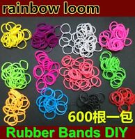 600pcs+24 S-Clips Tie Dye Rainbow Rubber Bands Loom Refill Bracelet Making DIY