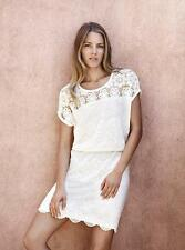 New COUNTRY ROAD White Cotton Linen Embroidered Crochet Lace Trim Dress XS/8