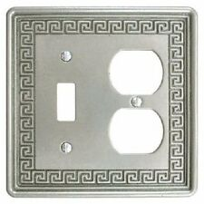 Wall Switch Plate Cover Toggle Outlet Greek Key Design Metallic - Pewter