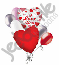 7 pc I Love You Hearts Valentines Day Balloon Bouquet Be Mine Hug Kiss Child Fun