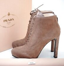 Prada Lace-Up Suede Platform Ankle Booties EU 38.5 US 8.5 Boots