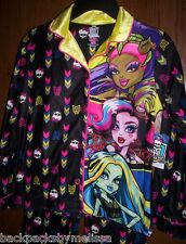 MONSTER High Fleece Pajamas Girls 10/12 NeW Button Down Shirt Pants Warm Pjs NWT