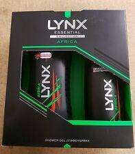 4 x Lynx Africa Set regalo per gli uomini 1000ml Gel Doccia 600 ml Deodorante Spray Corpo