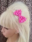 """HANDMADE SMALL 3"""" PINK & RED CHERRY PRINT NOVELTY BOW HAIR CLIP 50s RETRO STYLE"""