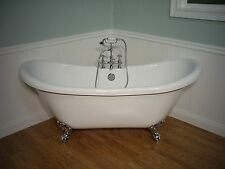 DOUBLE  SLIPPER CLAWFOOT BATHTUB & FAUCET pedestal tub