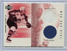 2001-02 CHALLENGE FOR THE CUP JOE SAKIC THEN AND NOW DUAL GAME WORN JERSEY