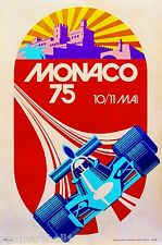 1975 Monaco French Grand Prix Art Automobile Race Advertisement Vintage Poster