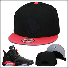 New Era Chicago Blackhawks Snapback Hat Black/Infrared/Black For Jordan Retro 6