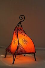 Attractive Moroccan table lamp. orange red colour + henna designs. Ethnic light
