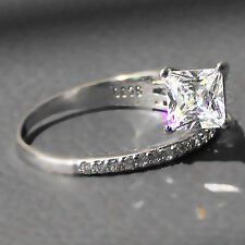 Fashion White Sapphire Birthstone 925 Silver Filled Wedding Bridal Ring Size 8