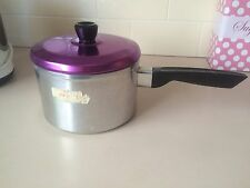 Vintage Retro Aluminium Cooking Pot with Anodised Lid-brilliant Purple