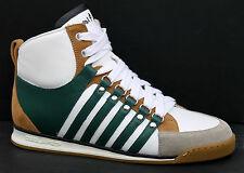 DSQUARED Vitello Sport UK 5 VERDI / BIANCHE IN PELLE / CAMOSCIO Combi Mid Sneaker Scarpe Da Ginnastica