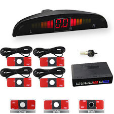 4 Flat Parking Sensors LED Display Car Backup Reverse Radar System Alarm Kit