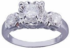 14k White Gold Round Forever One Moissanite and Diamond Engagement Ring 0.75ctw