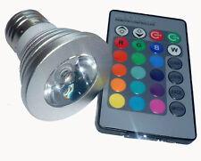 faretto a led RGB E27 con telecomando 3W DC110-240V angolo illum.120°- 16 colori