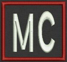 """Two Letter Initial Square Name Tag, Biker Patch, badge 2.75"""" x 2.75"""""""