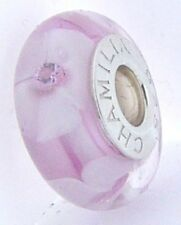 2116-0113 CHAMILIA STERLING SILVER BREAST CANCER MURANO GLASS BEAD NEW IN POUCH