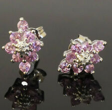 9Carat White Gold Pink Sapphire Cluster Stud Earrings (7x11mm)