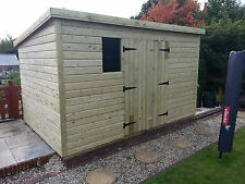 GARDEN SHED SUPER HEAVY DUTY TANALISED 12X8 PENT 19MM T&G. 3X2.
