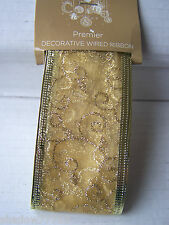 luxury gold gift wrapping ribbon with wired edge edging 2.7m glitter swirls  #15
