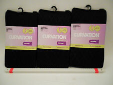 3 Curvation Textured Tights BLACK DIAMOND PATTERN ,CURVACEOUS 1,LOT OF 3 PAIRS