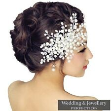 Bridal Flower Hair Comb Diamante Crystal Pearl Wedding Clip Slide Hairpiece Prom