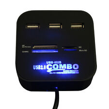 3 Puertos Hub USB 2.0 Combo All In One Multi lector de tarjetas para SD/MMC/M2/