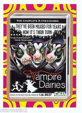 """2014 WACKY PACKAGES TERRIBLE TV """"GOLD"""" - THE VAMPIRE DAIRIES #4"""