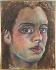 """Untitled (Close-Crop Portrait of Woman) Signed Acrylic Painting 20 1/2""""x16 1/2"""""""