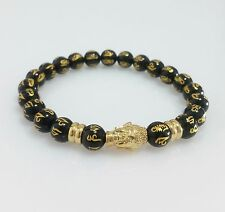 Women Men 18K Yellow Gold St Steel Buddha Black Beads Bangle Stretch Bracelet