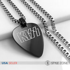 MEN Stainless Steel KISS Band Guitar Pick Music Band Pendant w Box Necklace 14C